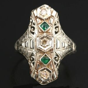 "Edwardian 14K Diamond "" Emerald "" Glass Ring"